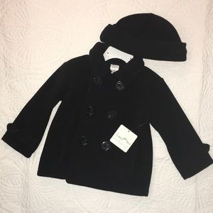Starting Out black pea coat with matching hat